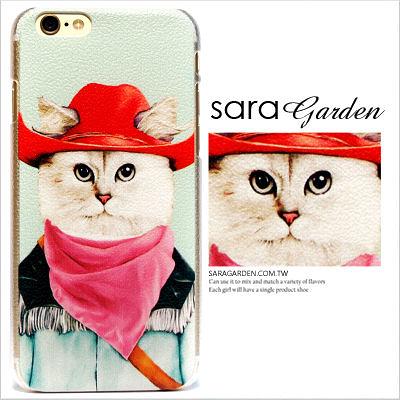 (24H) 客製 手繪 西部牛仔 粉色領巾 貓咪 iPhone 6 6S Plus 5 5S 手機殼 荔枝紋 硬殼【C0615029】