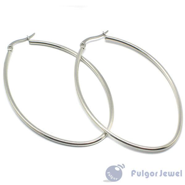 316西德鋼 鋼飾 流行飾品 316 西德鋼 橢圓形耳環 耳針卡扣式【Fulgor Jewel】