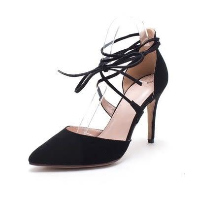 尖頭高跟鞋-優雅潮流多層綁帶真皮細跟女鞋子2色73iw69[時尚巴黎]