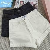 【V0930】shiny藍格子-夏日輕曲.百搭顯瘦高腰反折邊闊腿牛仔短褲