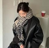 鄭多喜 氣質千鳥格流蘇雙面學生保暖圍脖韓版休閒百搭圍巾女冬季 范思蓮恩
