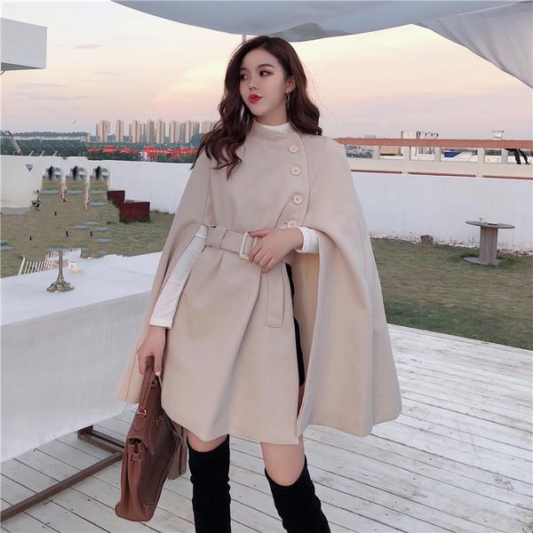 絕版出清 韓國風百搭斗篷呢子大衣寬鬆毛呢單品外套