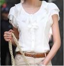 辣妹衬衫~小中大尺碼短袖襯衫~大碼女式純色短袖雪紡衫襯衫職業裝9876.MB031日韓屋
