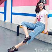 開多花樣洞洞鞋情侶沙灘涼鞋女夏季休閒防滑平底低跟花園鞋 薔薇時尚
