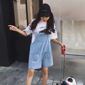 韓版寬松牛仔吊帶短褲女連體闊腿短褲