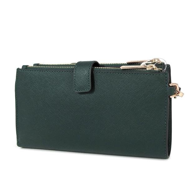 MICHAEL KORS 防刮皮革 雙層 手提 長夾 手機包(墨綠色)-35F8GTVW0L