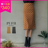 (現貨-黑M-L、棕L)PUFII-中長裙 復古點點後開衩窄裙中長裙 2色-0927 現+預 秋【ZP15242】