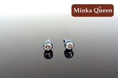 德國鈦鋼雷射藍鋼身白色精緻水鑽直立式抗敏耳環(一對)(3 mm )