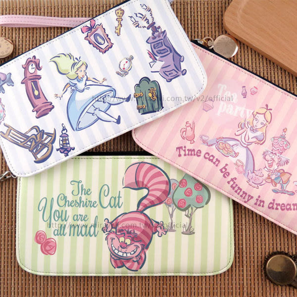 【DD】迪士尼Disney 愛麗絲 夢遊仙境 皮革 手機包 (附腕繩) 手機袋 小包包 收納包 零錢包 妙妙貓