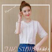 中大尺碼蕾絲衫 夏季新款雪紡女短袖小清新襯衫超仙甜美蕾絲上衣 AW3591【棉花糖伊人】