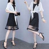 促銷價不退換防曬無袖洋裝XL-5XL中大尺碼33559女氣質時尚套裝雪紡波點連衣裙兩件套