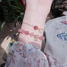 ins小眾設計草莓晶情侶紀念禮物原創粉水晶手錬女個性閨蜜手飾串