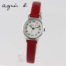 【萬年鐘錶】agnes b. 復古迷你羅馬字 紅色皮革錶 銀x白 25mm  VJ21-KT60R (BH8024X1)