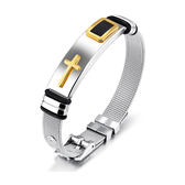 【5折超值價】【316L西德鈦鋼】經典美式復古風格十字架造型男款鈦鋼手環