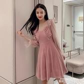 小禮服法式粉色小禮服短款平時可穿2020秋新款V領仙氣質宴會伴娘連身裙 萊俐亞