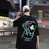春夏短T桖反光hiphop炸街上衣短袖潮牌港風痞帥半袖2021年新款男七分袖T恤
