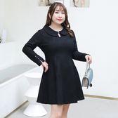 中大尺碼~複合蕾絲長袖洋裝(XL~4XL)