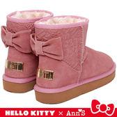 HELLO KITTY X Ann'S 大蝴蝶結真皮雪靴禮盒-粉