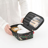 ✭米菈生活館✭【Z71】花草系列手提化妝包 夾層 旅行 收納 整理 分類 衣物 分裝 海關 出國 旅行
