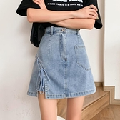 A字裙 黑色短裙夏季2021新款高腰不規則半身裙女顯瘦設計感牛仔裙A字裙【快速出貨八折搶購】