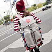 情侶mm大容量雙肩包女2018新款韓版潮帆布背包個性書包旅游旅行包 igo  薔薇時尚
