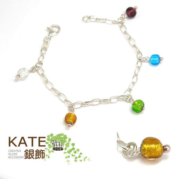銀飾純銀手鍊 義大利murano琉璃 璀璨年代 純銀手做 925純銀寶石手鍊 KATE 銀飾