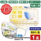 (雙鋼印) 久富餘 撞色系列 兒童醫用口罩 醫療口罩 (大頭貓) 50入/盒 (台灣製造 CNS14774) 專品藥局