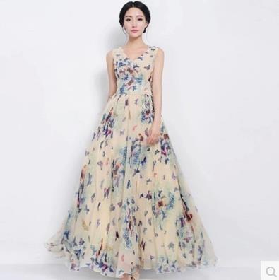 洋裝 沙灘裙泰國海邊度假波西米亞長裙夏雪紡碎花顯瘦海灘女裙子洋裝 伊衫風尚