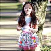 女童短裙 立體小碎花 蕾絲 網紗 裙子 Augelute 52240