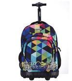 拉桿書包中學生男大容量女生旅行雙肩背包女孩中小學生拉桿包igo「時尚彩虹屋」