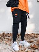 ins褲子男國潮寬鬆工裝褲九分嘻哈褲超火的休閒褲hiphop束腳褲男  晴光小語