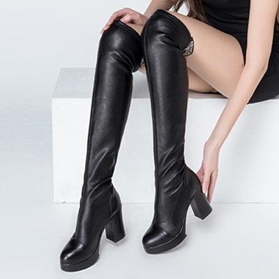 長靴-顯瘦修腿優雅蕾絲繡花粗跟真皮女過膝靴2款71ab1【巴黎精品】