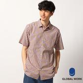 GLOBAL WORK男小方格棉質口袋牛津風短袖上衣襯衫-三色