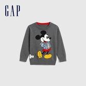 Gap男幼童 迪士尼織紋圓領套頭針織衫 593021-煙灰色