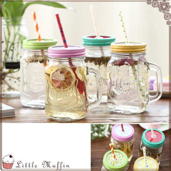 歐美 復古多用玻璃罐馬克杯/水杯/玻璃瓶/梅森瓶 水果款式 500ML