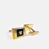 LANVIN經典LOGO金屬袖扣(黑金色)880062-10