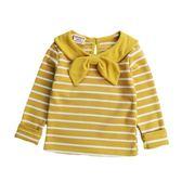 寶寶長袖T恤條紋打底衫女童純棉上衣小童體恤秋裝新款1-3歲洋氣【小梨雜貨鋪】