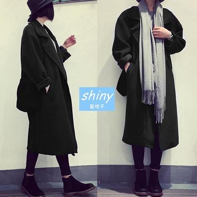 【V5894】shiny藍格子-冬著哲學.修身厚實寬鬆大翻領長款毛呢大衣外套