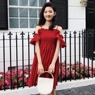 連身裙-一字領優雅荷葉邊性感露肩女連衣裙73rx31【巴黎精品】