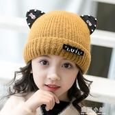 兒童帽子冬季2-5-8歲女童加絨加厚帽女寶寶保暖嬰兒帽子毛線帽潮 藍嵐