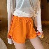 運動短褲 夏裝直簡高腰超短褲子休閒家居素色系帶鬆緊腰闊腿褲女外穿運動褲 麗人印象 免運