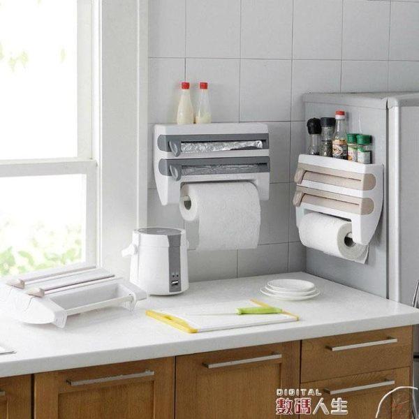 紙巾架日本廚房紙巾架冰箱掛架免打孔保鮮膜錫紙切割器雜物置物架收納架 數碼人生igo