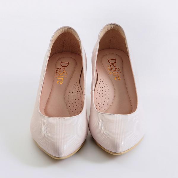 DeSire 壓紋跟鞋-粉