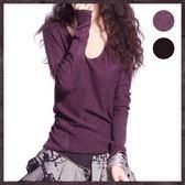 秋冬女裝純色半倦邊毛針織低圓領套頭毛衣修身顯瘦羊毛打底針織衫 挪威森林