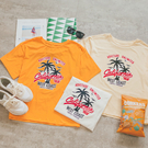 MUMU【T38177】椰子樹印花寬鬆圓領上衣。白/杏/黃