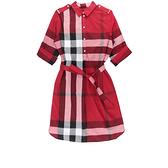 【BURBERRY】Kelsy 經典格紋綁帶洋裝 8/10/12 號(紅色) 8027706