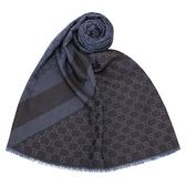 GUCCI 經典雙色緹花斜紋羊毛混絲披肩圍巾(黑藍色)084088-2