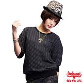 【BOBSON】女款緹織布5分袖上衣(33094-88)