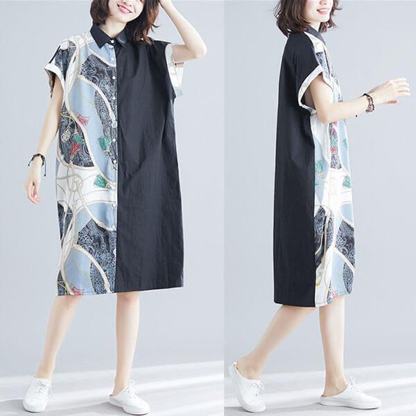 鍊條印花雪紡拼接洋裝-大尺碼 獨具衣格