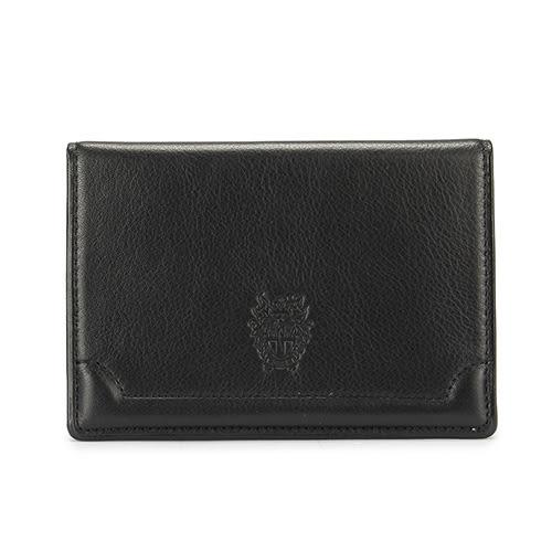 DAKS 經典家徽壓紋軟皮革證件名片夾(黑色)230194-01